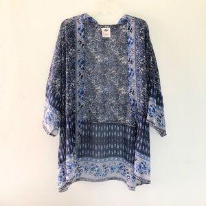 Tops - Blue Oversized Kimono Coverup Shawl